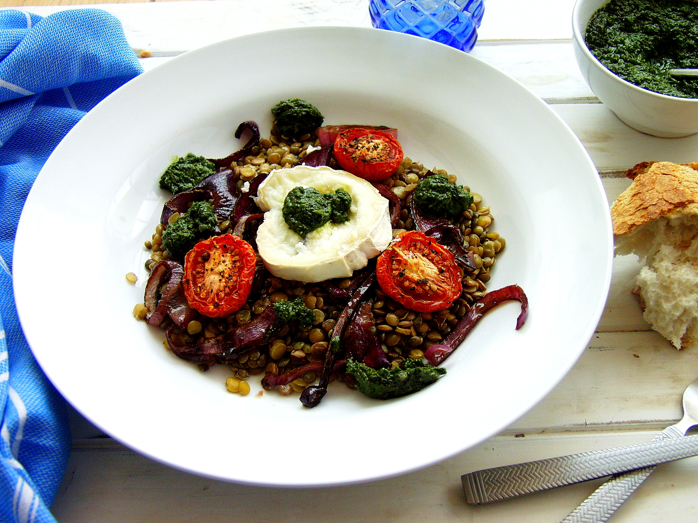 Wintery Warm Lentil and Goats Cheese Salad with a Fresh Basil dressing ...