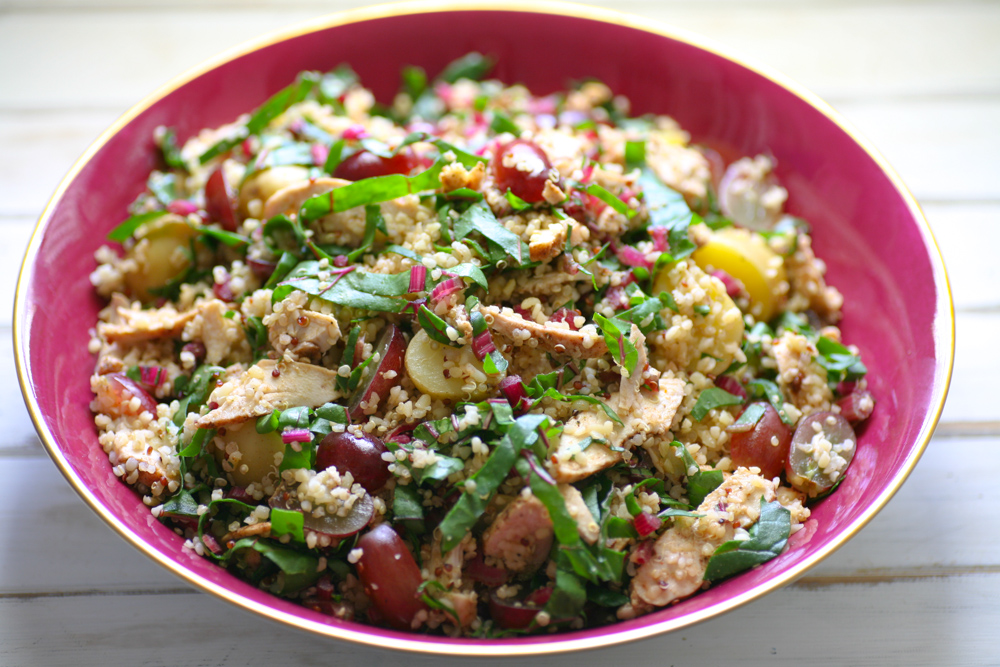 Homemade Cajun Chicken Salad with Quinoa, Bulgar Wheat and Red Chard |