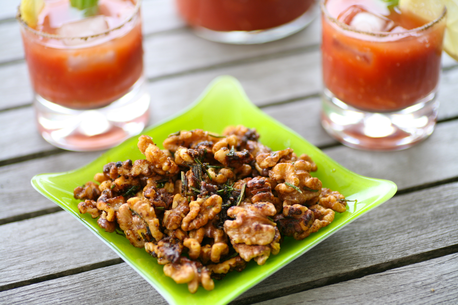 Spicy Virgin Mary with Rosemary Spiced Walnuts |