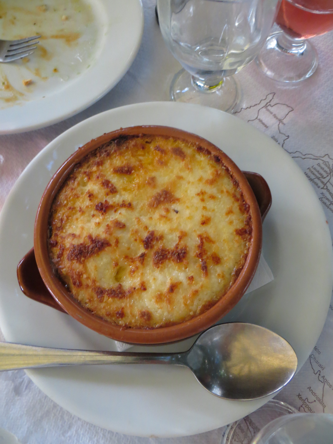 Here Is A Photo Of The Legendary Moussaka Pipping Hot In Its Own Terracotta Pot It Looks Similar To An English Cottage Or Shepherds Pie